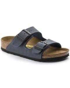 BIRKENSTOCK Arizona Birko-Flor Nubuck Kids Regular Width Sandals in Navy