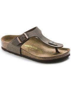BIRKENSTOCK Gizeh Kids Birko-Flor Nubuck Kids Regular Width Sandals in Mocha