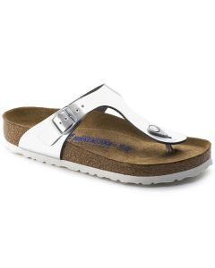 BIRKENSTOCK Gizeh Natural Leather Soft Footbed Women's Regular Width Sandals in Metallic Silver