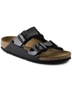 BIRKENSTOCK Arizona Birko-Flor Patent Unisex Regular Width Sandals in Black
