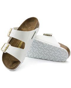 BIRKENSTOCK Arizona Birko-Flor Patent Unisex Regular Width Sandals in White