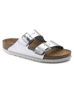BIRKENSTOCK Arizona Soft Footbed Natural Leather Women's Regular Width Sandals in Metallic Silver