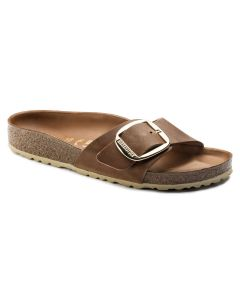 BIRKENSTOCK Madrid Big Buckle Oiled Leather Women's Regular Width Sandals in Cognac