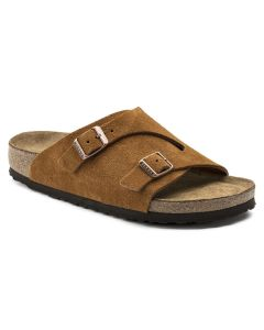 BIRKENSTOCK Zurich Suede Leather Soft Footbed Men's Regular Width Sandals in Mink