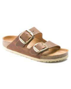 BIRKENSTOCK Arizona Big Buckle Oiled Leather Unisex Regular Width Sandals in Cognac