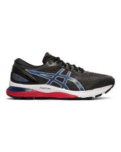 ASICS GEL-NIMBUS 21 Men's Running Shoe in Black/Electric Blue