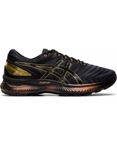 ASICS GEL-NIMBUS 22 PLATINUM Men's Running Shoe in Black/Pure Gold
