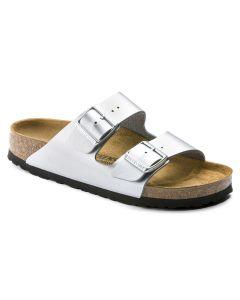 BIRKENSTOCK Arizona Birko-Flor Unisex Regular Width Sandals in Silver