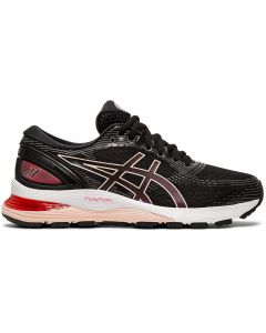ASICS GEL-NIMBUS 21 Women's Running Shoe in Black/Laser Pink