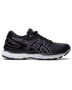 ASICS GEL-NIMBUS 22 Women's Running Shoe Standard Width in Black/Lilac Tech