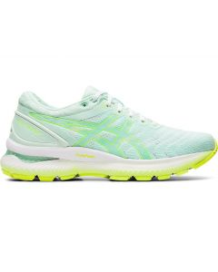 ASICS GEL-NIMBUS 22 Women's Running Shoe in Mint Tint/Safety Yellow