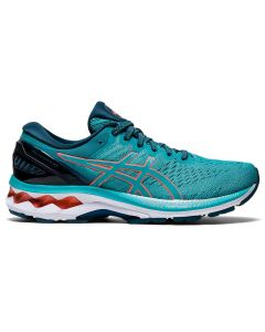 ASICS GEL-KAYANO 27 (D) Women's Running Shoe in Techno Cyan/Sunrise Red