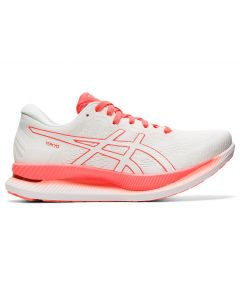ASICS GLIDERIDE Women's Running Shoe in White/Sunrise Red