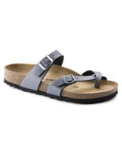 BIRKENSTOCK Mayari Birko-Flor Women's Regular Width Sandals in Icy Metallic Anthracite