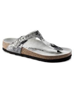 BIRKENSTOCK Gizeh Suede Leather Women's Regular Width Sandals in Vintage Metallic Gray Silver