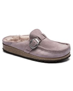 BIRKENSTOCK Buckley Shearling Suede Leather Women's Narrow Width Clogs in Lavendar Blush