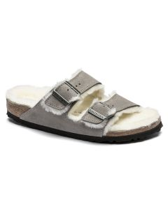 BIRKENSTOCK Arizona Shearling Suede Leather Unisex Regular Width Sandals in Stone Coin