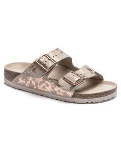 BIRKENSTOCK Arizona Suede Leather Women's Regular Width Sandals in Vintage Metallic Rose Copper