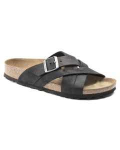 BIRKENSTOCK Lugano Oiled Leather Unisex Regular Width Sandals in Camberra Old Black