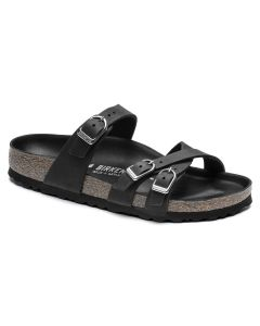 BIRKENSTOCK Franca Oiled Leather Women's Regular Width Sandals in Black