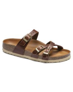 BIRKENSTOCK Franca Oiled Leather Women's Regular Width Sandals in Cognac