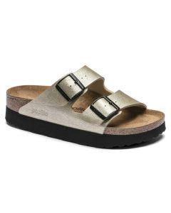 BIRKENSTOCK Papilo Arizona Platform Birko-Flor Women's Narrow Width Sandals in Metallic Platin