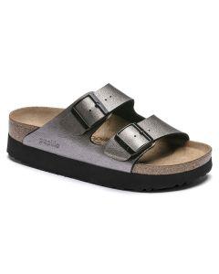 BIRKENSTOCK Papilo Arizona Platform Birko-Flor Women's Narrow Width Sandals in Metallic Jengi