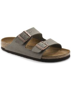 BIRKENSTOCK Arizona Birko-Flor Nubuck Unisex Regular Width Sandals in Stone