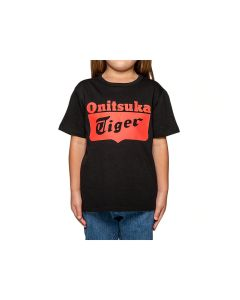 ONITSUKA TIGER Kids Logo Tee in Black/ Fiery Red