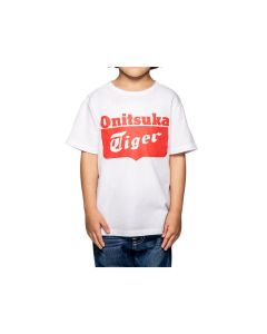 ONITSUKA TIGER Kids Logo Tee in Real White/Fiery Red