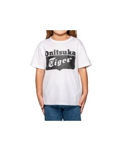 ONITSUKA TIGER Kids Logo Tee in Real White/Performance Black