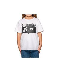 ONITSUKA TIGER Kids Logo Tee in Real White/Performance Black