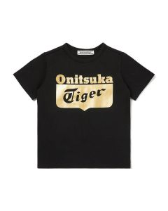 ONITSUKA TIGER Kids Logo Tee in Black/Rich Gold