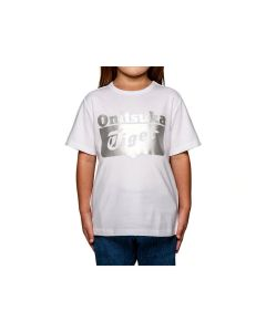 ONITSUKA TIGER Kids Logo Tee in White/Silver