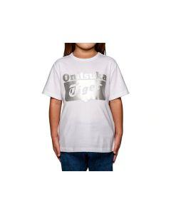ONITSUKA TIGER Kids Logo Tee in White/Silver