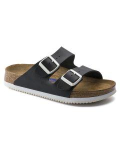 BIRKENSTOCK Arizona Soft Footbed Natural Leather Men's Regular Width Sandals in Black