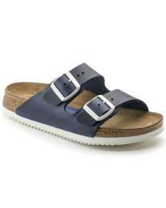 BIRKENSTOCK Arizona Soft Footbed Natural Leather Unisex Regular Width Sandals in Blue