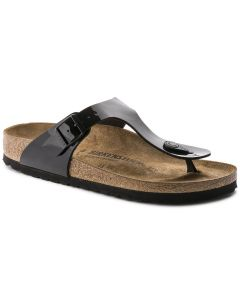 BIRKENSTOCK Gizeh Birko-Flor Patent Unisex Regular Width Sandals in Black