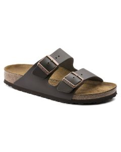 BIRKENSTOCK Arizona Natural Leather Unisex Regular Width Sandals in Dark Brown
