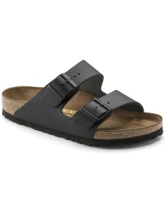 BIRKENSTOCK Arizona Natural Leather Unisex Regular Width Sandals in Black