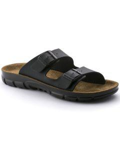 BIRKENSTOCK Bilbao Birko-Flor Unisex Narrow Width Sandals in Black