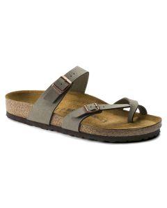 BIRKENSTOCK Mayari Birko-Flor Unisex Regular Width Sandals in Stone