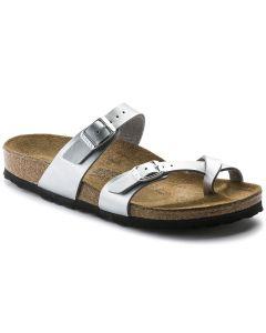 BIRKENSTOCK Mayari Birko-Flor Women's Nrrow Width Sandals in Silver