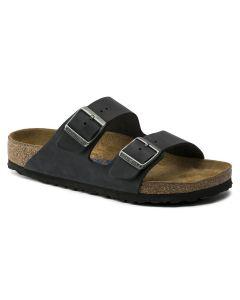 BIRKENSTOCK Arizona Oiled Leather Soft Footbed Women's Narrow Width Sandals in Black