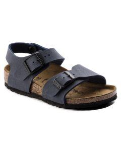 BIRKENSTOCK New York Birko-Flor Nubuck Kids Regular Width Sandals in Navy