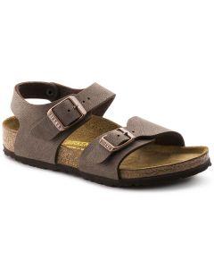 BIRKENSTOCK New York Birko-Flor Nubuck Kids Regular Width Sandals in Mocha