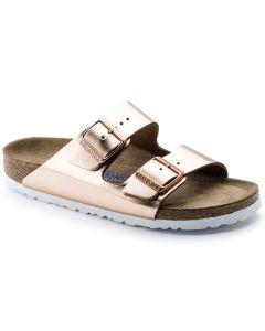 BIRKENSTOCK Arizona Birko-Flor Soft Footbed Women's Regular Width Sandals in Metallic Copper