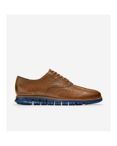 COLE HAAN ZERØGRAND Men's Wingtip Oxford in Medium Roast Leather-Indigo