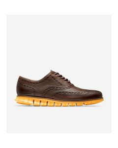COLE HAAN ZERØGRAND Men's Wingtip Oxford in Bracken Leather-Golden Rod