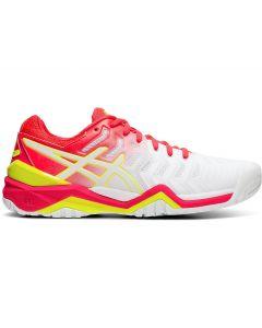 ASICS GEL-RESOLUTION 7 Women's Tennis Shoe in White/Laser Pink